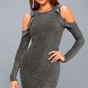 Lulus Silver Shimmer Cocktail Dress M